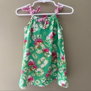 Baby Girls Green Flamingo Sleeveless Sundress